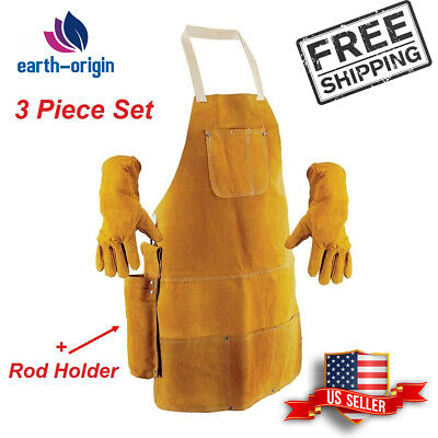 Best Genuine Split Leather Shop Apron Woodwork Carpenter Blacksmith Welder Smock