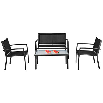 Garden Furniture - 4 PCS Patio Furniture Set Sofa Coffee Table Steel Frame Garden Deck Black