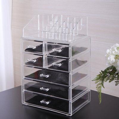 Makeup Jewelry Organizer Clear Acrylic Brush Box Display Holder Storage Drawer Box Clear Drawer Organizer
