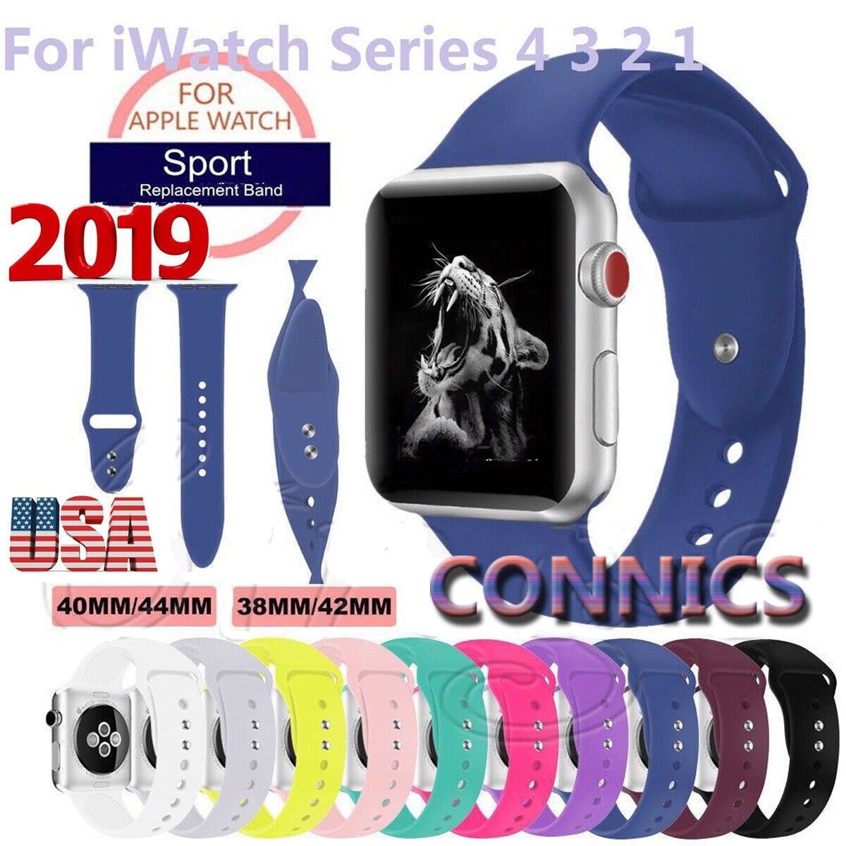 women/men Silicone Sport Watch Band Fr Apple Watch 4/3/2/1ST