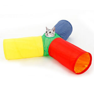 Pet Tunnel Play Fun Toys 3 Way 4 Holes Colorful Rabbit Kitten Cat Funny Tunnels