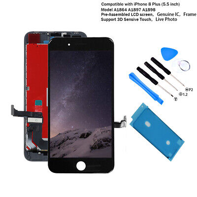 For iPhone 8 PLUS Black LCD Screen Replacement Touch Digitizer OEM IC Assembly