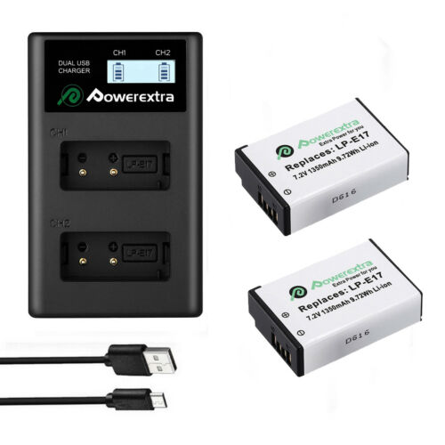 2x LP-E17 Battery +USB Charger For Canon EOS M3 M5 750D 760D T6i T6s 8000 Camera