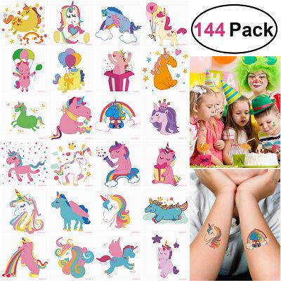 144Pcs Temporary Tattoos Unicorn Dinosaur Stickers Party Supplies Favors kids (Unicorn Tattoo)