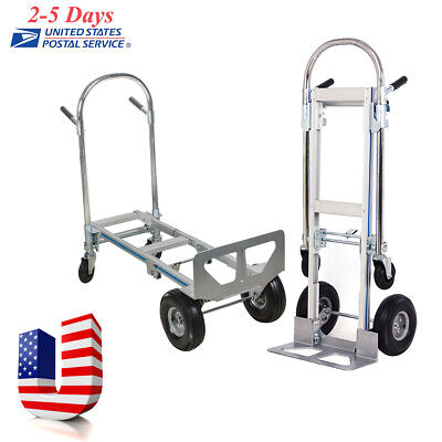 Heavy Duty 2in1 Aluminum Hand Truck Convertible Fold 2wheel Dolly 4wheel Cart Us