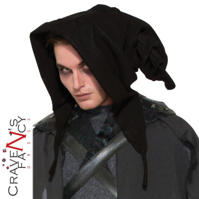 Witches Wizards Cowl Black Hood Halloween Fancy Dress Costume Accessory New