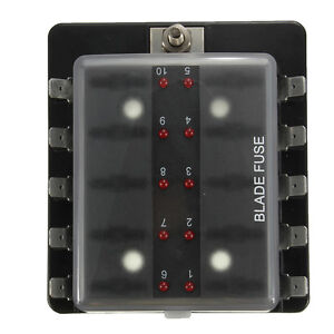 10 WAY AUTOMOTIVE FUSE HOLDER BOX WITH LED INDICATORS BLADE FUSES 12 Volt 24v