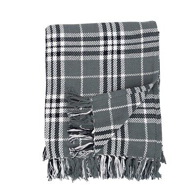 - Max Plaid Gray and White 50 x 60 Inch Cotton Fringed Throw Blanket