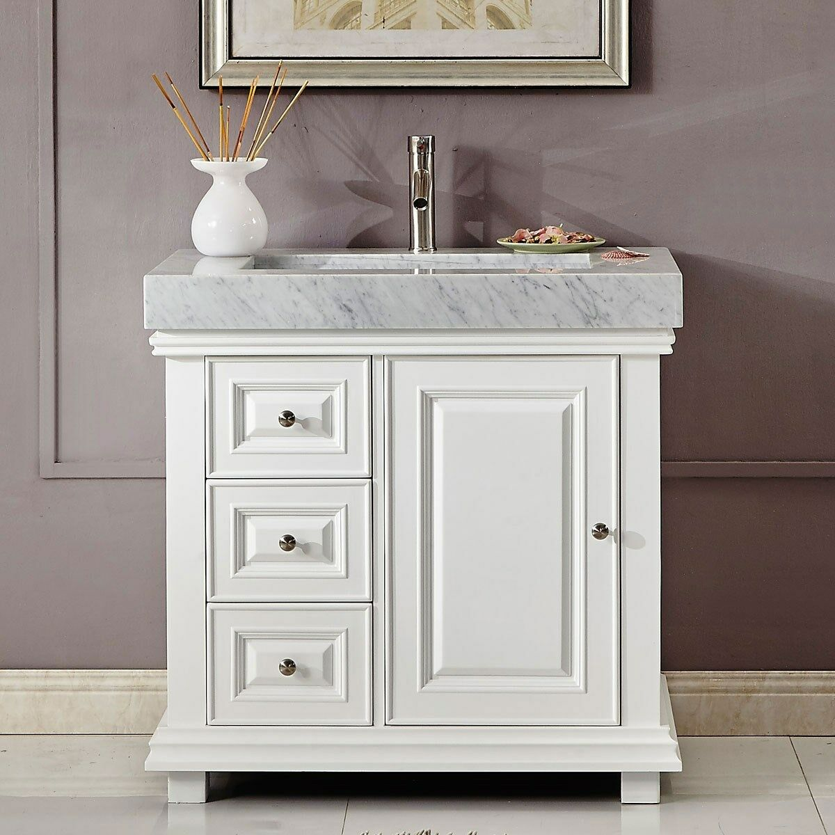 Details About 36 Inch Modern Off White Marble Top Bathroom Vanity Single Sink Cabinet 0286wr