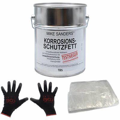 "Mike Sanders 4 kg Korrosionsschutzfett ""weiche Mischung"" + BGS Handschuhe +Folie"