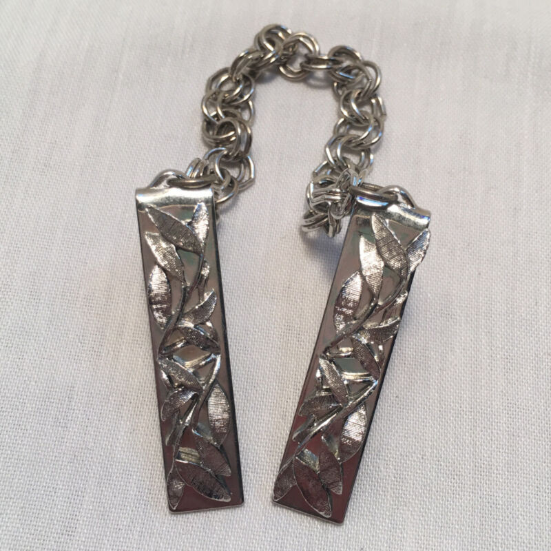 QUALITY VINTAGE SWEATER GUARD/CLIPS- SILVERTONE W/ LEAF SHAPES!