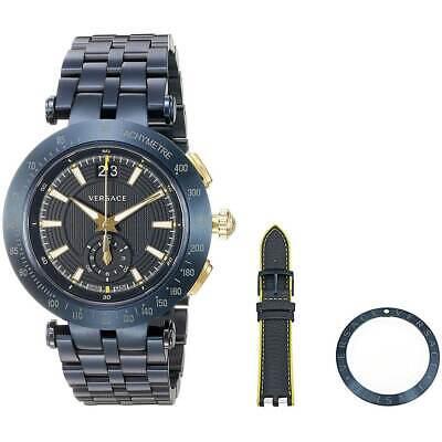 Versace Men's Watch V-Race Chronograph Blue Stainless Steel Bracelet VAH050016