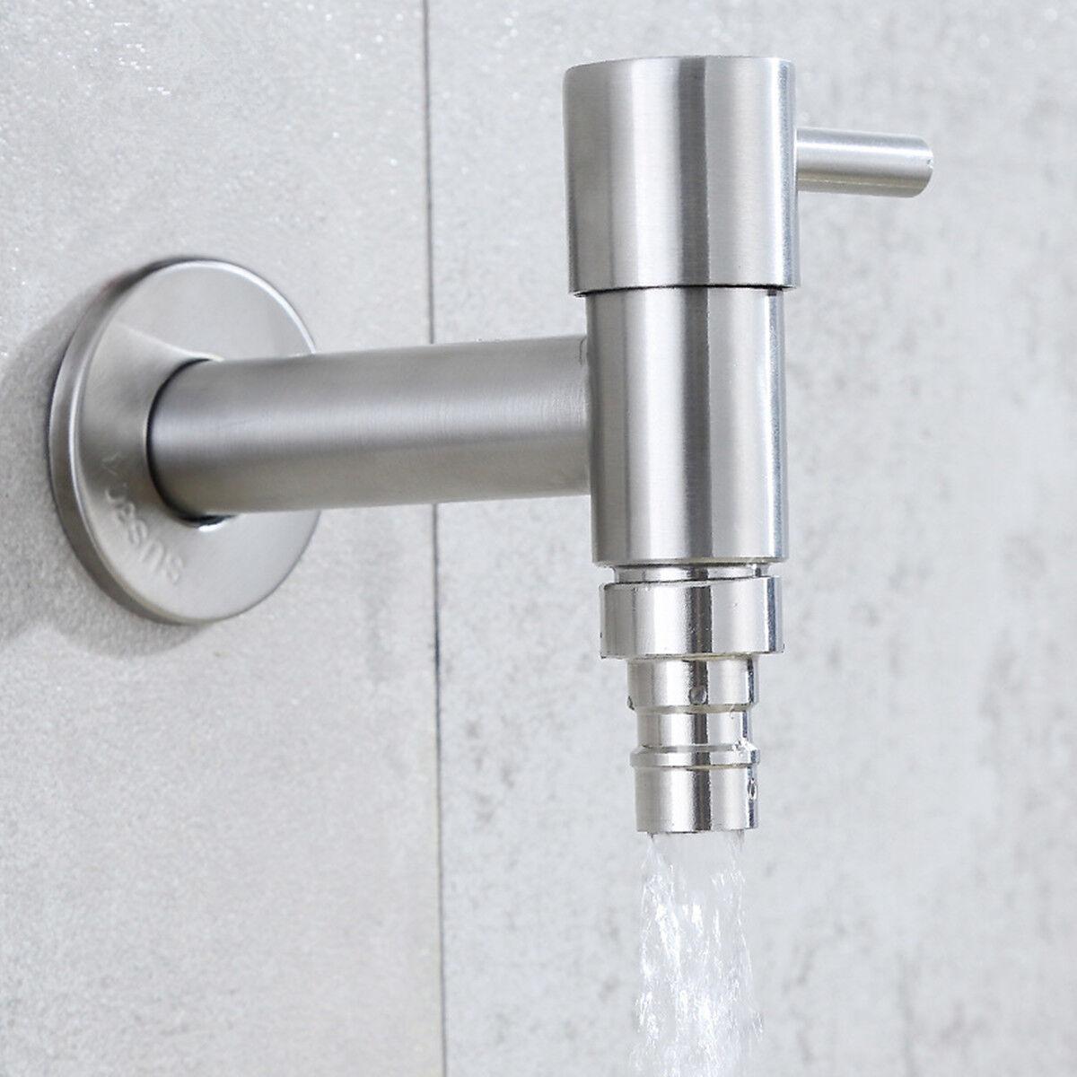 Wandwasserhahn Kalt Wasserhahn Zapfventil Ventil Waschmaschine Garten Edelstahl