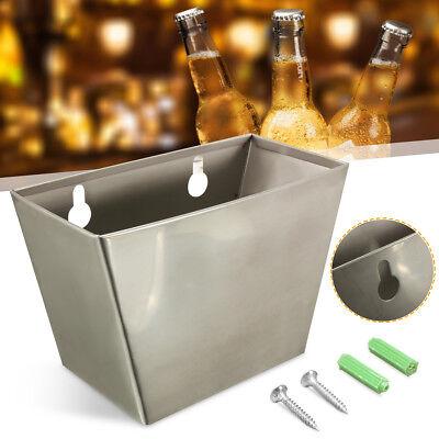 Wall Mount Bar Beer Bottle Opener Cap Catcher Stainless Steel Box W/ Screws NEW