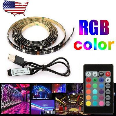 5050 RGB 1M LED Strip USB 5V Light TV Backlight Lamp Color Change Remote Control