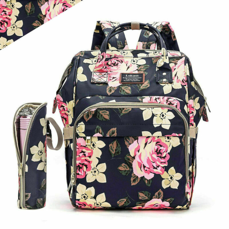 Diaper Bag Backpack Mummy Baby Nappy Insulated Bottle Bag + Changing Pad Hooks