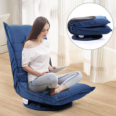 Swivel Video Rocker Gaming Chair Adjustable Angle Chair Folded Floor Chair  Blue