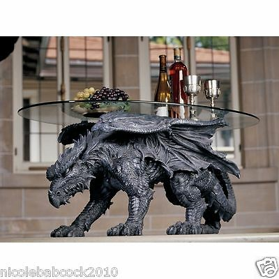 "33"" PREHISTORIC DRAGON CRAWLING SIDE TABLE STATUE 33"" LONG WITH GLASS TOP DECOR"
