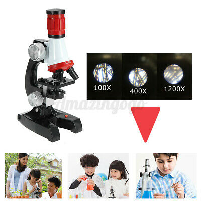 23pc 100x-1200x Starter Compound Microscope Science Kit For Kids Student Us