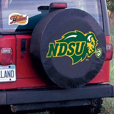 (North Dakota State University Tire Cover with Bison Logo on Black Vinyl)