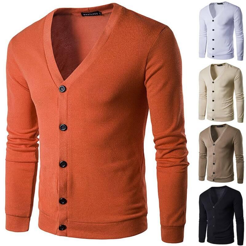 Men Winter Casual V Neck Sweater Tops Knit Cardigan Slim Lon