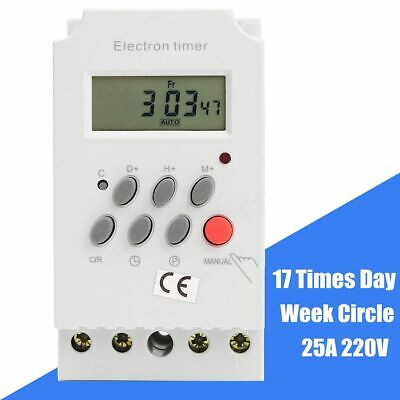 Kg316t-ii Ac 220v 25a Din Rail Digital Programmable Electronic Timer