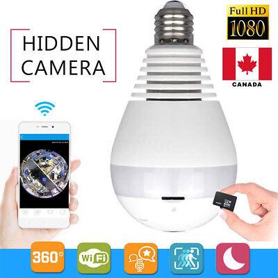 Wifi  360 Degree HD 1080P Hidden Fish Eye Bulb Camera LED Light CCTV Security  C