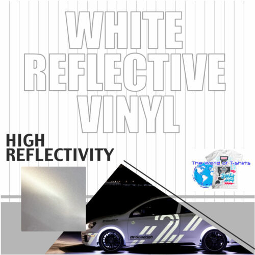 "Reflective WHITE sign Vinyl Adhesive safety Plotter cutter 12""x10ft"