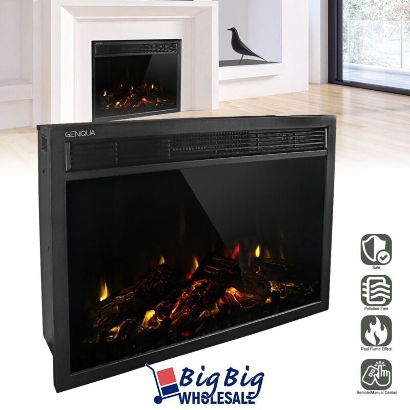 """1400W 30"""" Electric Fireplace Heater Wall Insert Freestanding Adjustable +Remote"""