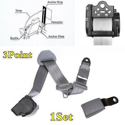 1Set Gray Car Shoulder Seat Belt 3 Point Lap & Diagonal Retractable Seatbelt Kit