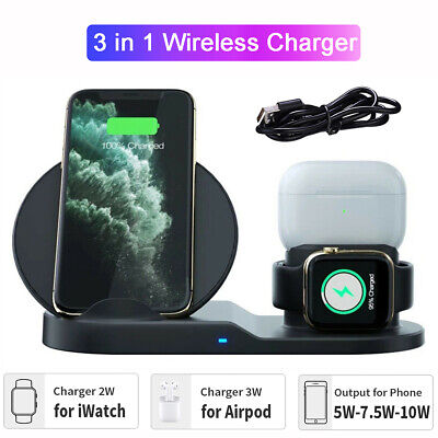 3 in 1 Wireless Charger Dock Stand iWatch Charging Station For iPhone 11 X XS S9