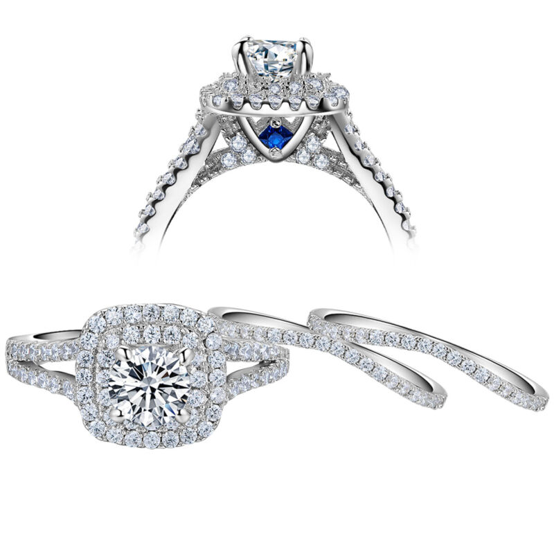 3pcs Engagement Wedding Ring Set For Women 925 Sterling Silver Aaaa Cz Blue 5-12