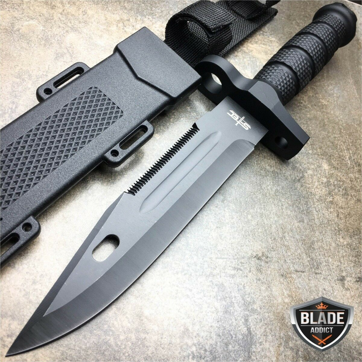 "12.5"" TACTICAL Rambo Hunting Army SURVIVAL FIXED BLADE KNIFE Bowie w/ SHEATH"