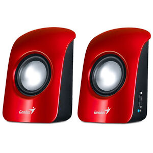 GENIUS SP-U115 RED USB POWERED MULTIMEDIA STEREO SPEAKERS FOR PC LAPTOP COMPUTER