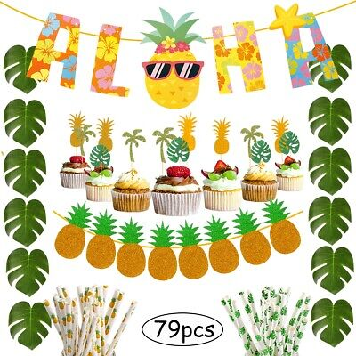 Hawaii Decoration Party (Aloha Hawaii Tropical Safari Party Decorations Set Sunglasses Pineapple)