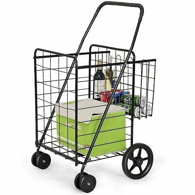 Shopping Cart Wheels Steel Folding Rolling Grocery Laundry Utility Basket Large