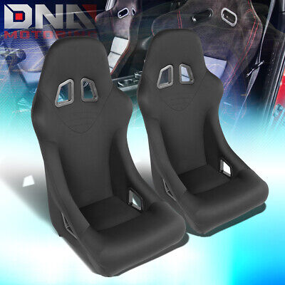- PAIR BLACK FULLY FIXED WOVEN SPORT SPEC RACING SEATS W/UNIVERSAL SLIDER