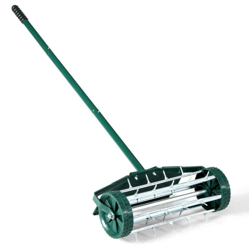 """IRONMAX Rolling Lawn Aerator 18"""" Home Garden Rotary Push Tine Outdoor W/Fender"""