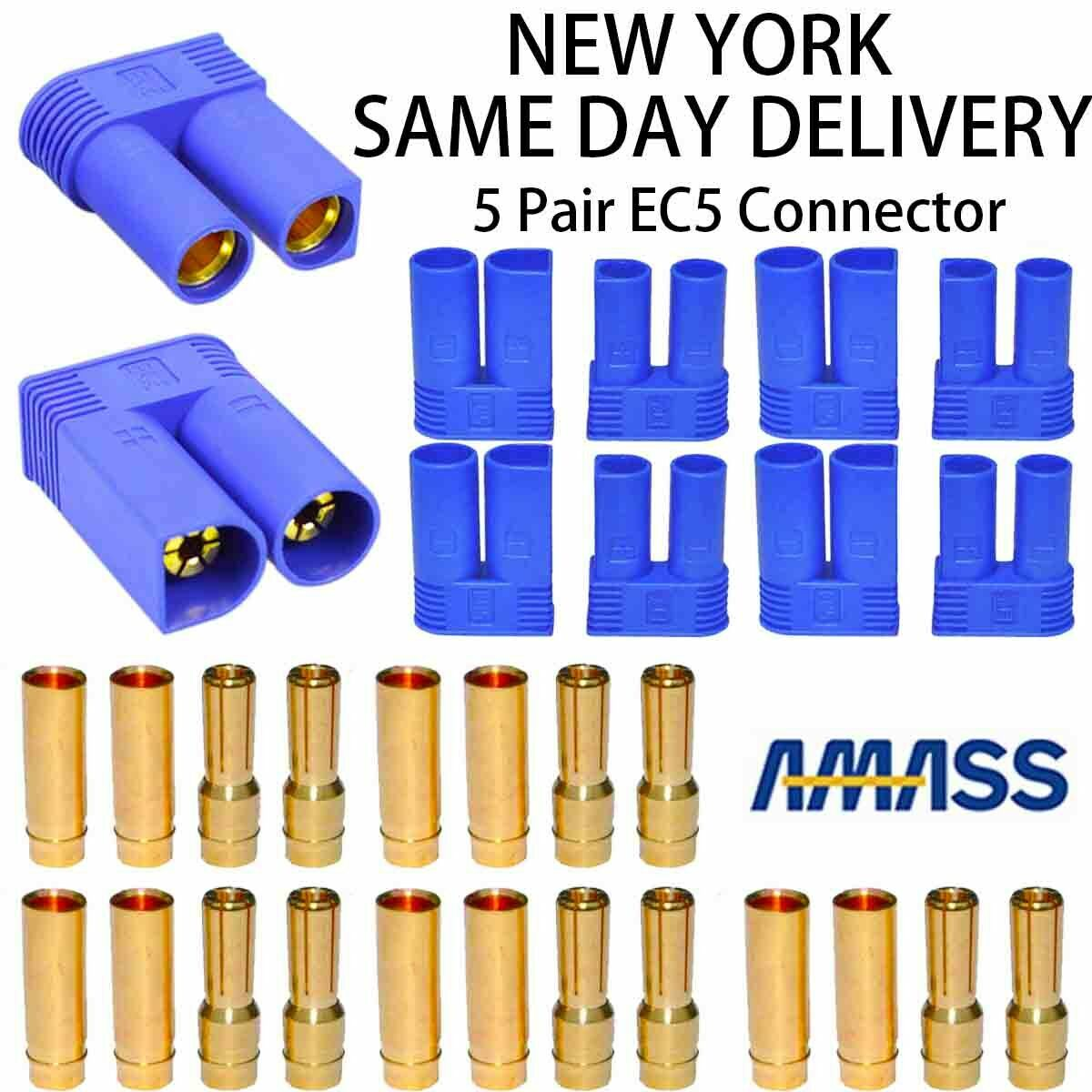 5 Pair EC5 Banana Plug Female Male Bullet Gold Connector Fit