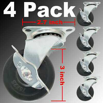4 Pack 3 Inch Swivel Caster Wheels With Lock Brake 125 Lbs Load