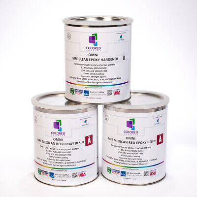 Red Epoxy Resin 100 Solids For Garage Floorplywoodconcrete. 3 Gallon Kit