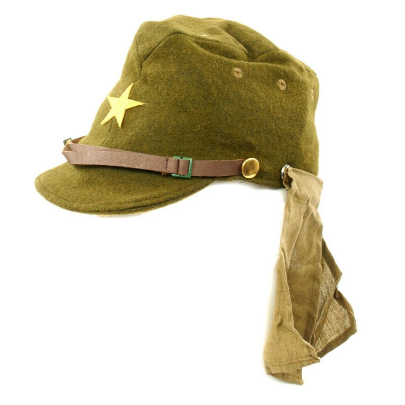 Japanese WWII Army EM/NCO Hat & Neck Flaps- Size 7 3/4