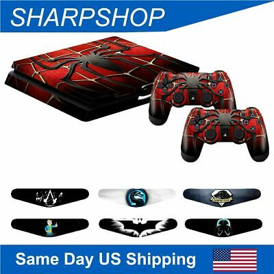 Skin Sticker Decals for PS4 Slim Console + Dual Controller Covers with Light Bar
