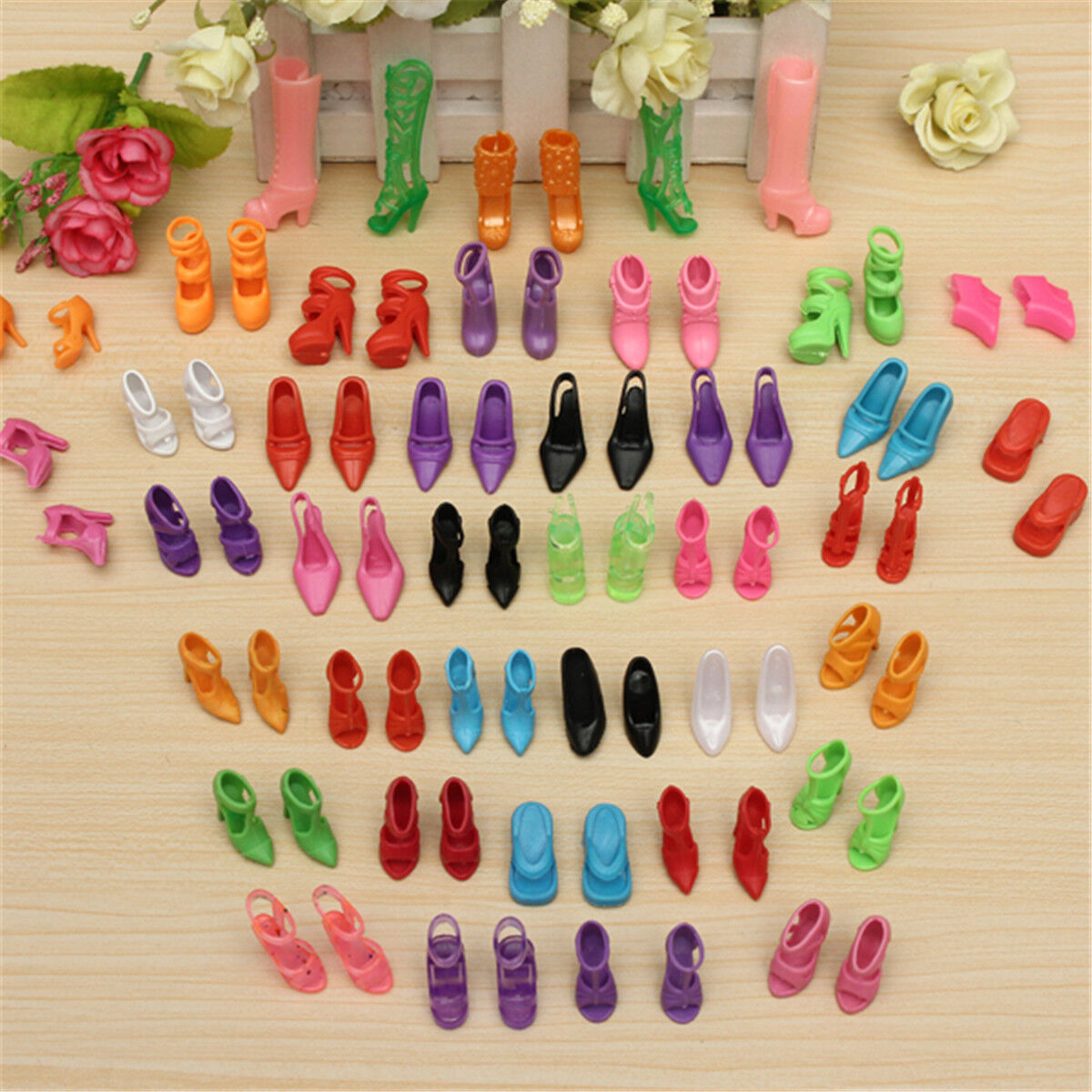 80pcs 40 Pairs Different High Heel Shoes Boots For Barbie Doll Clothes Dresses