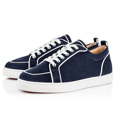NIB Christian Louboutin Rantulow Orlato Flat Mens Blue White Low Top Sneaker 39