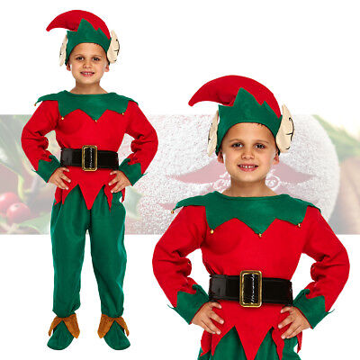 Boys Deluxe Elf Costume Fancy Dress Cute Santa's Little Helper Christmas Outfit (Cute Santa Girl Costumes)
