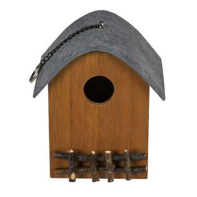 Vogelhaus mit Zaun grün Vogelhäuschen Futterhäuschen Nistkasten Vogelvilla