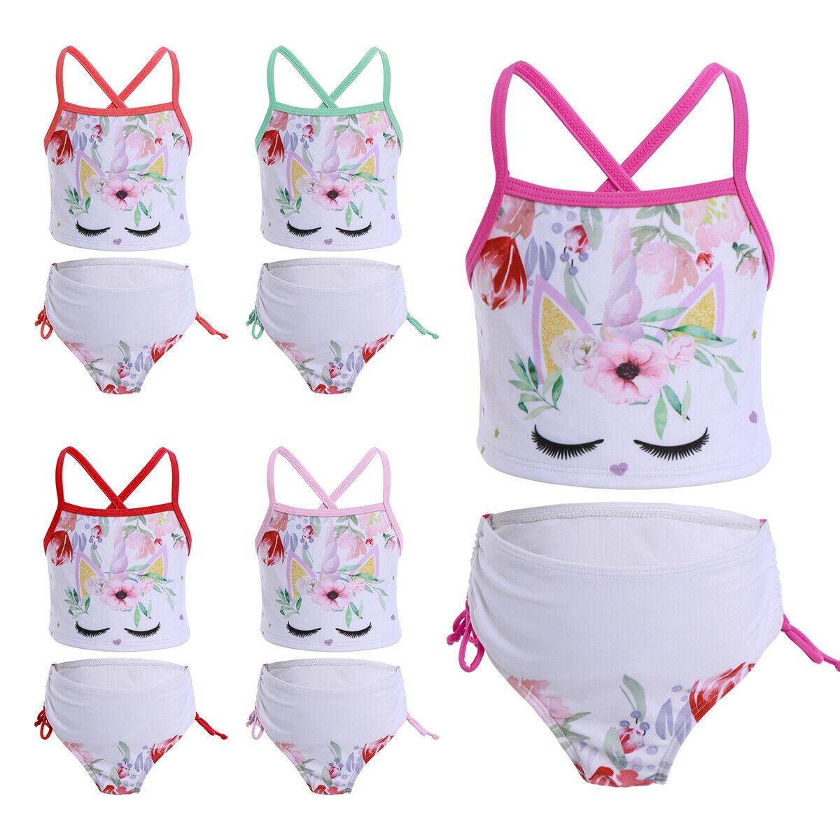 Newborn Baby Girl Swimsuit Unicorn Floral Lace Cartoon Swimwear Bathing Suit Set