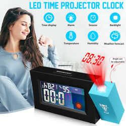Digital LED Projection Alarm Clock Snooze Weather Temperature Color Screen Time
