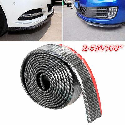 Car Body Front Bumper Spoiler Lip Skirt Carbon Fiber Protector Trim 2.5M/100